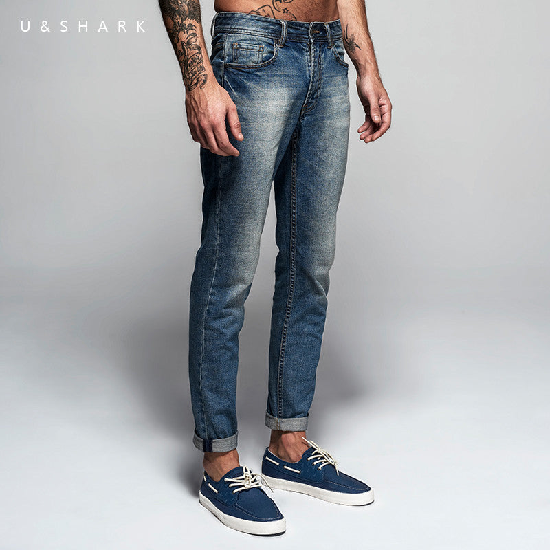 Italian Style Fashion Full Length Solid Skinny Jeans Men Brand Designer Clothing Denim Pants U&Shark Luxury Casual Trousers Male - USMART NEW YORK