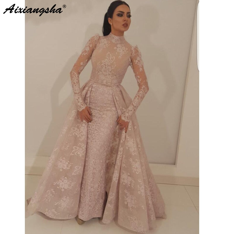 Mermaid High Collar Illusion Long Sleeves Gown