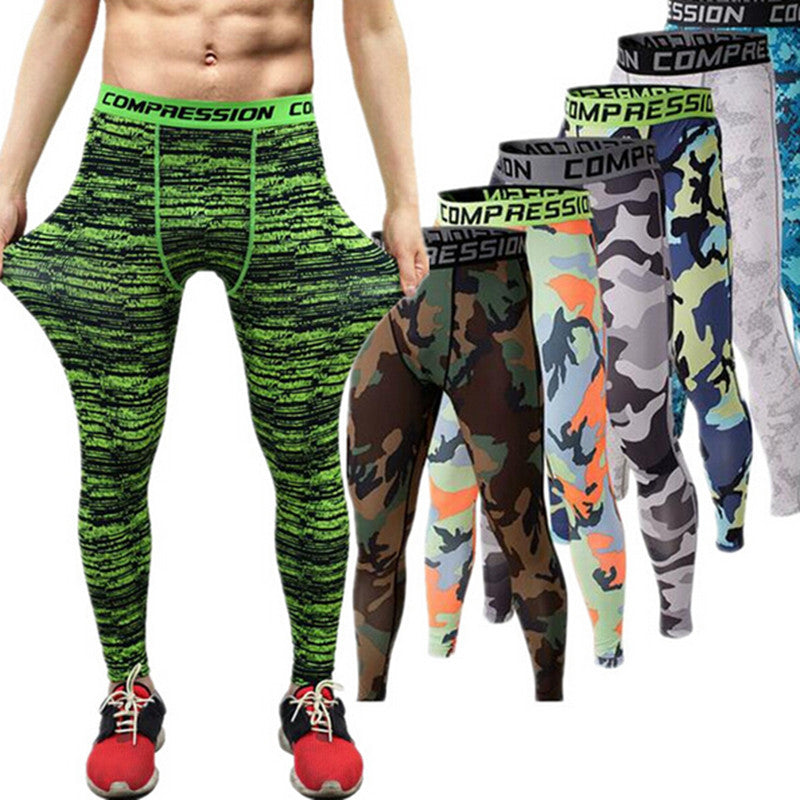 2016 Men Compression Pants Tights Casual  Bodybuilding Mans Trousers Brand Camouflage Army Green Skinny Leggings - USMART NEW YORK
