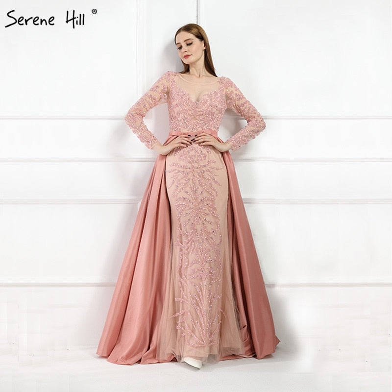 Luxury Mermaid Long Sleeves Beading Crystal Evening Gown