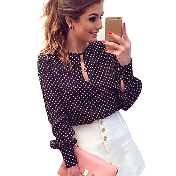 Long Sleeve Slit Open Women Blouse Chiffon Hollow Sexy Casual Shirt Plus Size Women Tops Blusas bluse Polka Dots Shirt Top-TOPS-US MART NEW YORK