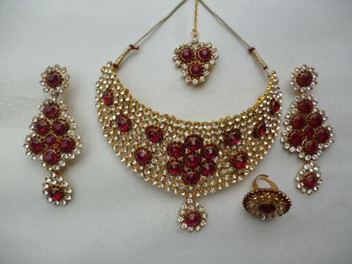 Red Stone Bridal Necklace Earrings CZ Tikka Set-JEWELRY SETS-US MART NEW YORK