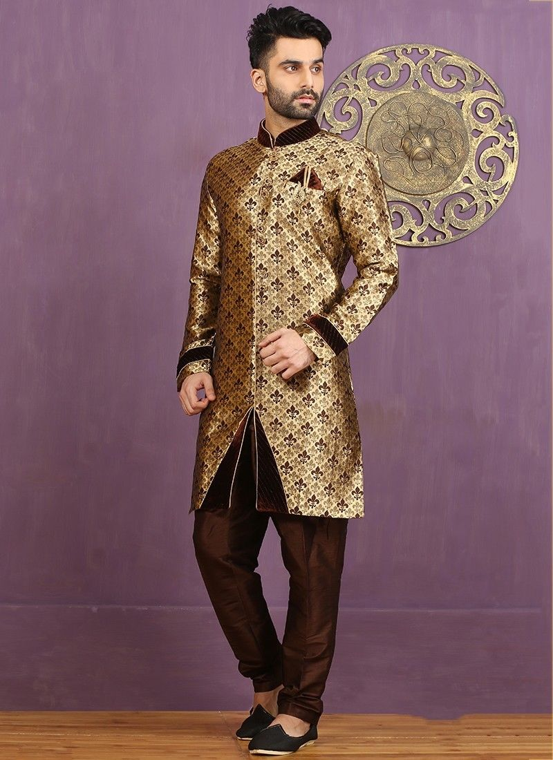 Indian Traditional Wedding Wear Brown Pakistani Designer Jacquard Sherwani