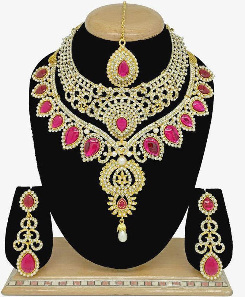 Indian Bollywood Jewelry Wedding Bridal Fashion CZ Statement Necklace Set 4 Pcs
