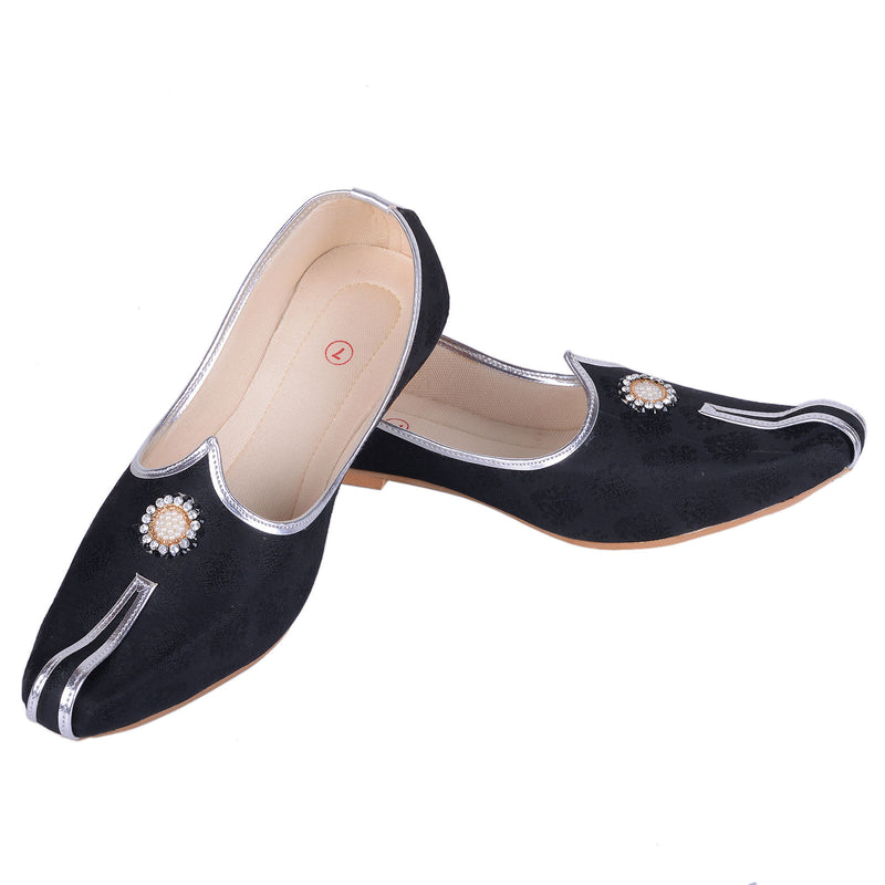 Rajwada Men Sherwani Shoe Black Pakistani Shoe Padhani Shoe Lahori Nagra Jutti-SHERWANI ACCESSORIES-US MART NEW YORK