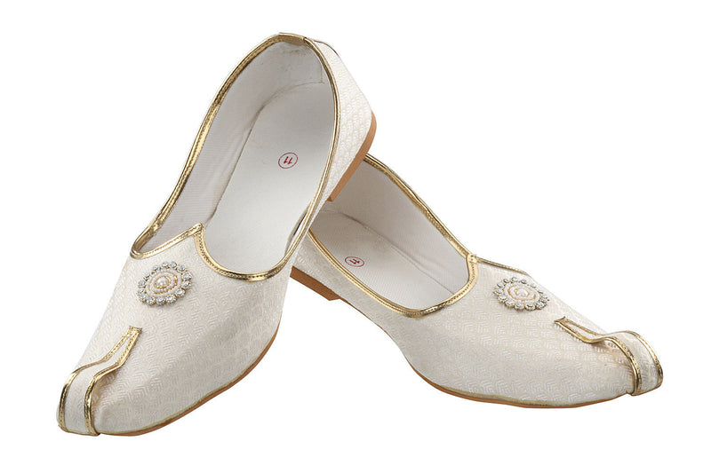 Rajwada Men Sherwani Shoe Cream Pakistani Shoe Padhani Shoe Lahori Nagra Jutti-SHERWANI ACCESSORIES-US MART NEW YORK