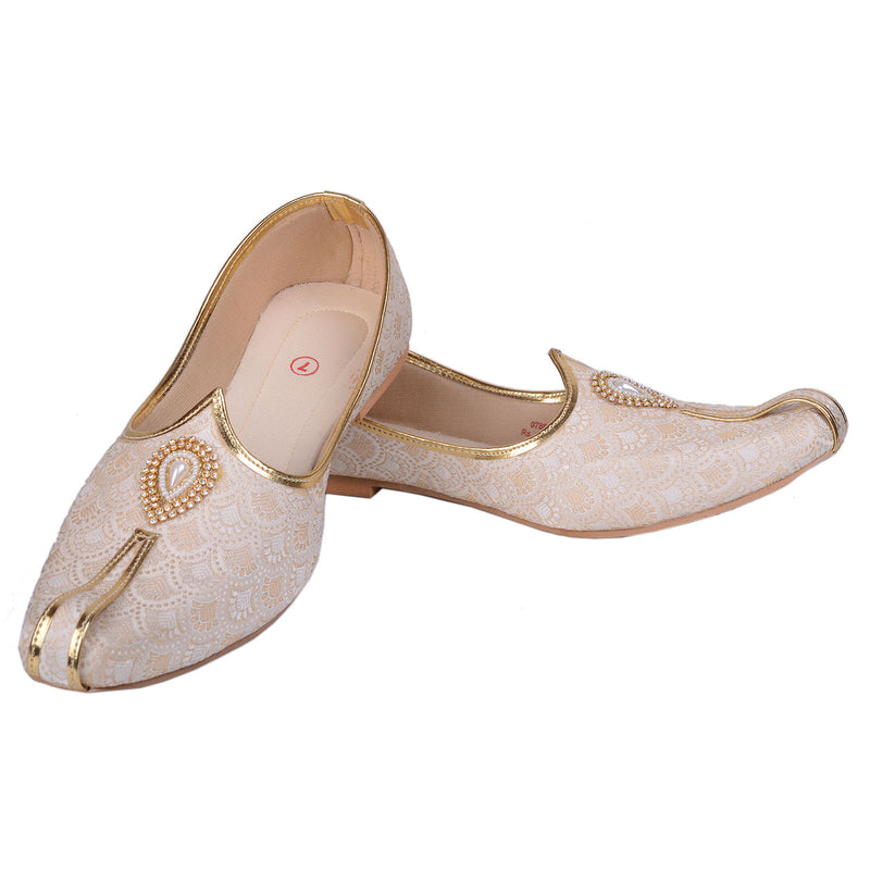 Rajwada Men Sherwani Shoe Gold Pakistani Shoe Padhani Shoe Lahori Nagra Jutti-SHERWANI ACCESSORIES-US MART NEW YORK