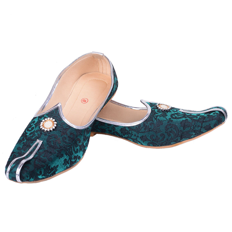 Rajwada Men Sherwani Shoe Green Pakistani Shoe Padhani Shoe Lahori Nagra Jutti-SHERWANI ACCESSORIES-US MART NEW YORK