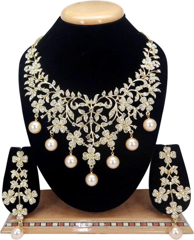 Indian Bollywood Jewelry Wedding Bridal Fashion CZ Statement Necklace Set 3 Pcs