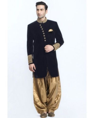 Black Rayon Velvet Fabric Zardosi Work Sherwani With Silk Dhoti pant For Groom