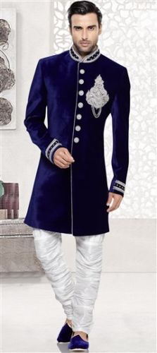 Blue Velvet Fabric Zardosi Work Sherwani With Churidar Cotton pant For Groom