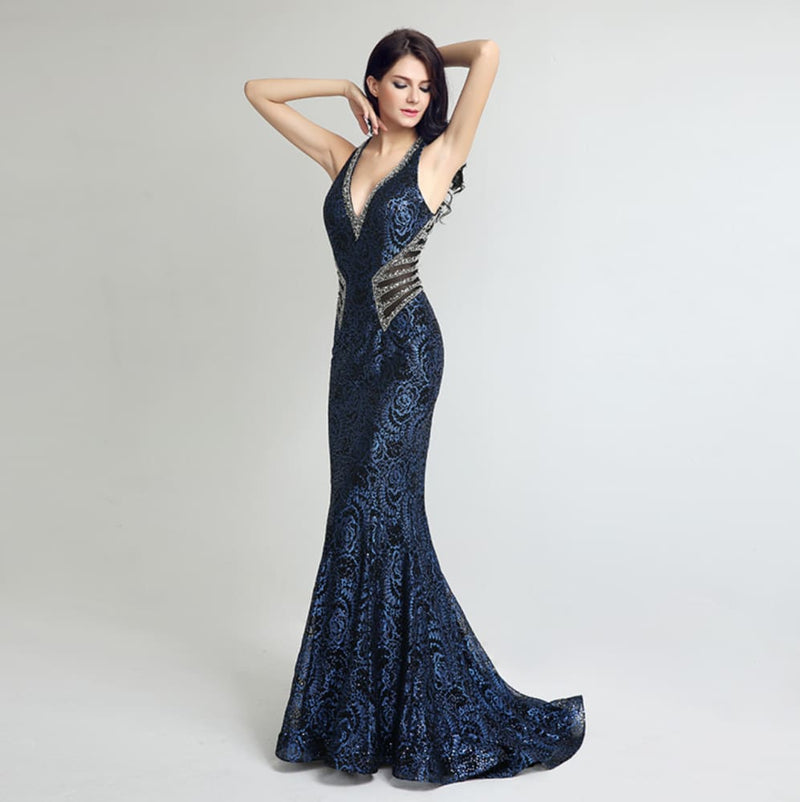 Sheath Bodice Lace Crystal Beading Long Mermaid Evening Dresses-Dresses-US MART NEW YORK