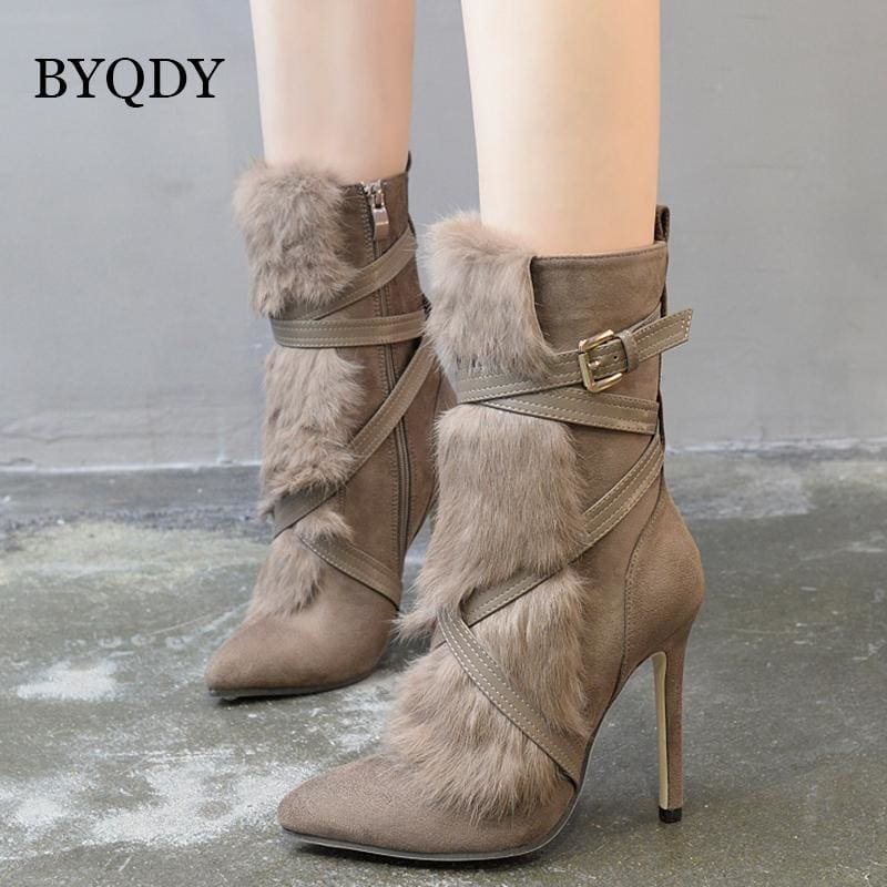 Suede Ankle Boots With Fur HIGH HEELS