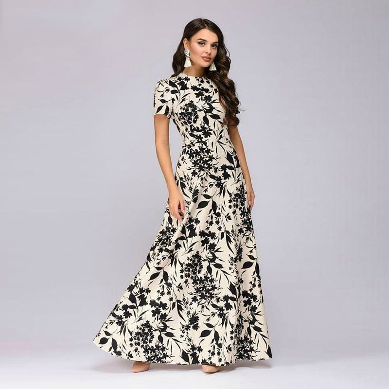 Summer Short Sleeve Floral Print Boho Long Dress beige / L Dresses