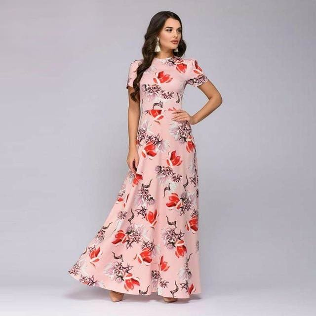 Summer Short Sleeve Floral Print Boho Long Dress-Dresses-US MART NEW YORK