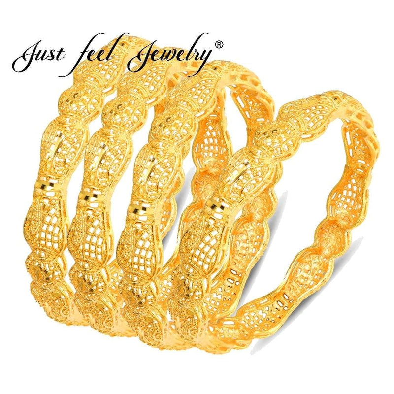 Trendy Gold Color Copper Wedding Bangles, 4Pcs/Lot-Bracelets-US MART NEW YORK