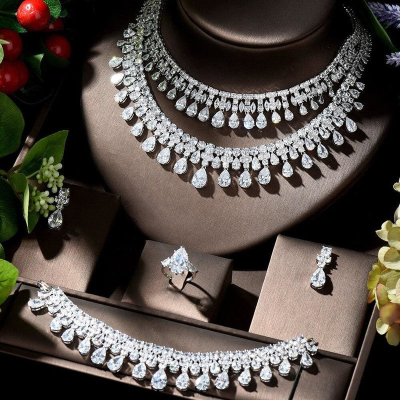Water Drop Shape Cubic Zirconia Necklace Earring Set Platinum Plated JEWELRY SETS