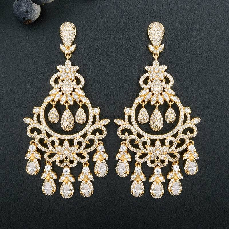 Water Drop Tassel Cubic Zirconia Stones Long Elegant Vintage Earrings EARRINGS