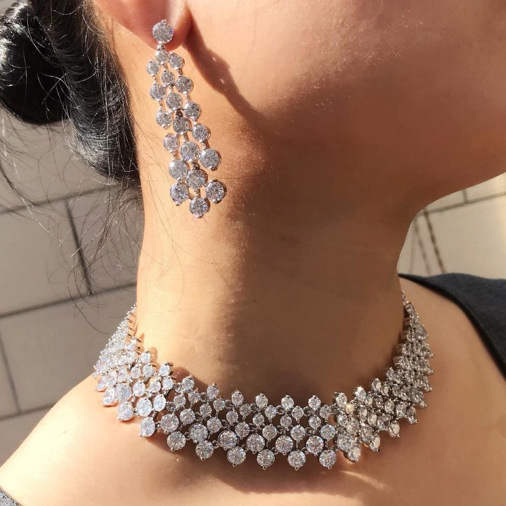 White Stone Cubic Zirconia Micro Pave Wedding Choker With Earrings Platinum Plated JEWELRY SETS