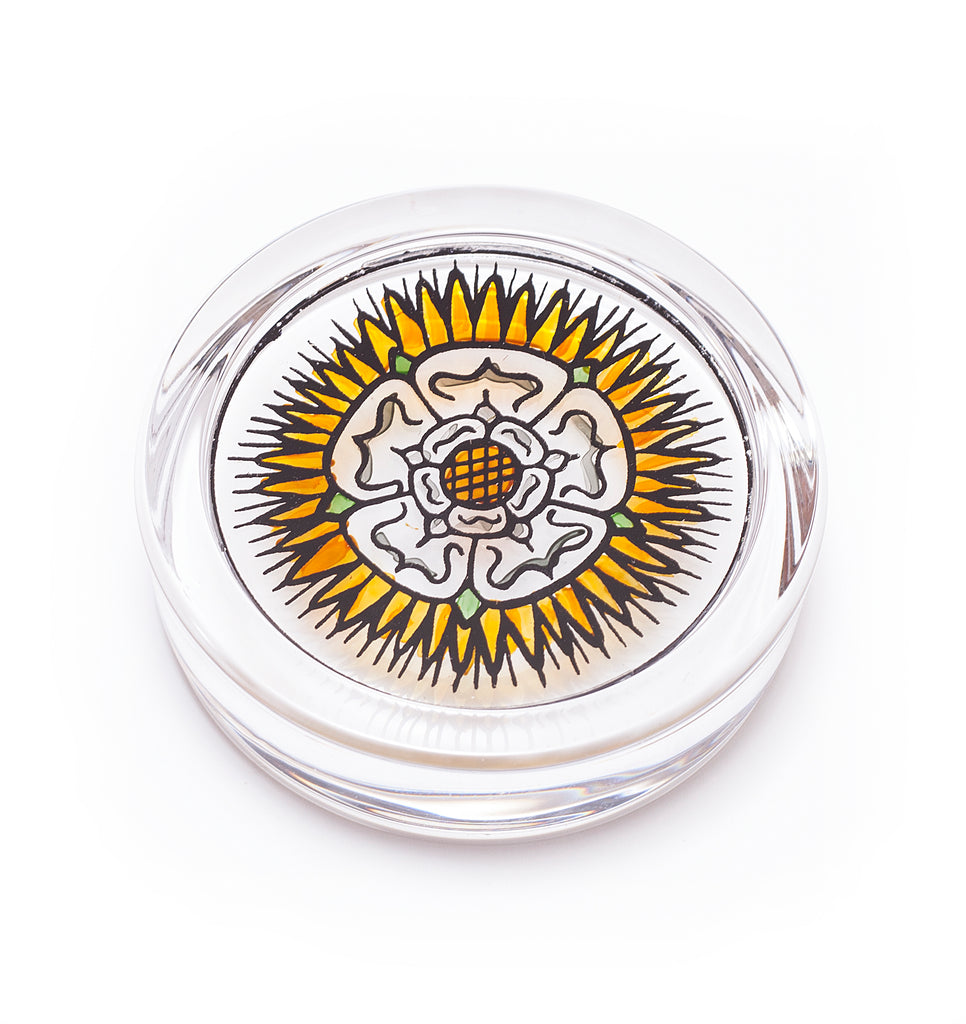 White rose paperweight