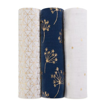 Aden and Anais - classic swaddles metallic gold deco 3 Pack - Artock Australia