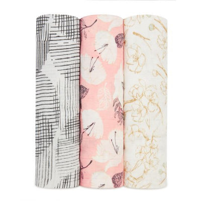 Aden and Anais - pretty petals 3-pack silky soft bamboo swaddles - Artock Australia