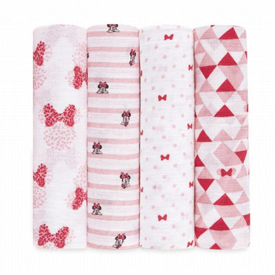 aden by aden and anais - disney minnie 4pack muslin swaddles - Artock Australia