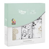 Aden and Anais - classic swaddles Disney Mickey 90th metallic 3 Pack (limited ed) - Artock Australia