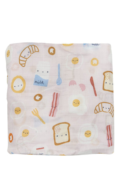 Loulou Lollipop - Fitted Crib Sheet - Breakfast Pink - Artock Australia