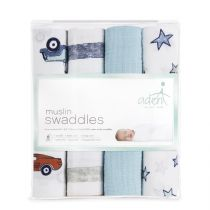 aden by aden and anais - hit the road 4pack muslin swaddles - Artock Australia