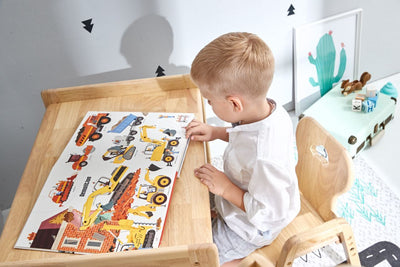 This kids table and chairs set is the first 5-level adjustable wooden table and 4-level adjustable wooden chair in the market for your children to play and read in a nurturing environment.
