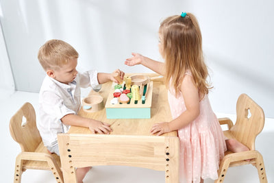 Large enough tabletop workspace for two kids to share the table sitting across from each other