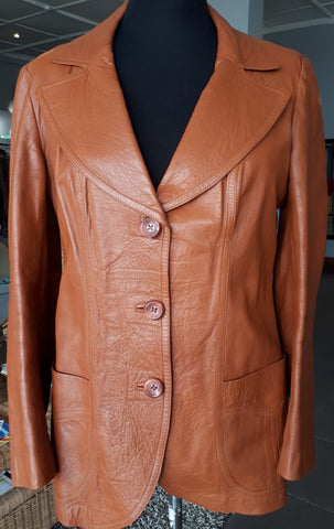 Leather Blazer in Brick Brown (M)