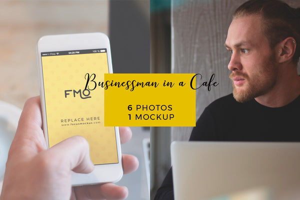 Magic Bundle - Businessman In A Cafe: 6 Photos + 1 Mockup