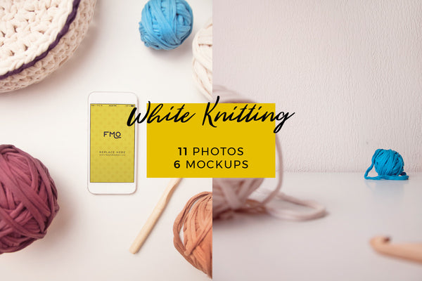 Magic Bundle - White Knitting Magic Bundle: 11 Photos + 6 Mockups