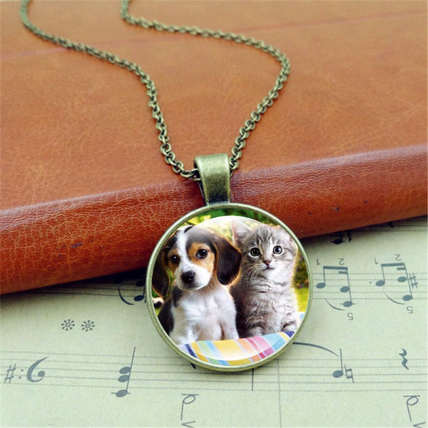 Cute Cat and Dog Silver Chain Glass Pendant Handcrafted Necklace.-GearGifts.com