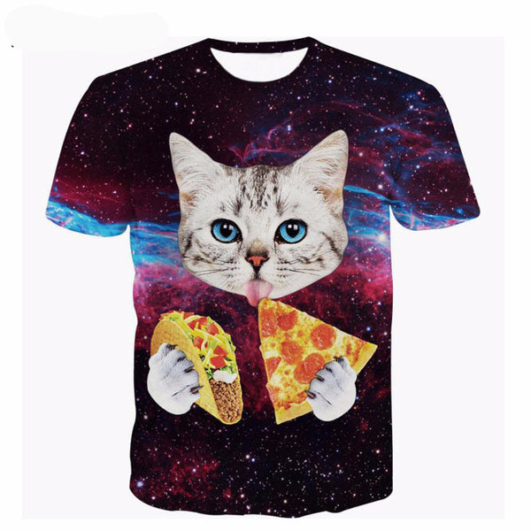 Galaxy Space Cat Eating Pizza & Taco Tshirt! 20 Styles!-GearGifts.com