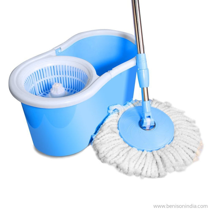 Benison India 360 degree Spin Mop Rotating ,Pole Bucket ,No Foot Pedal( 2 Microfiber Heads)-Benison India-Benison India