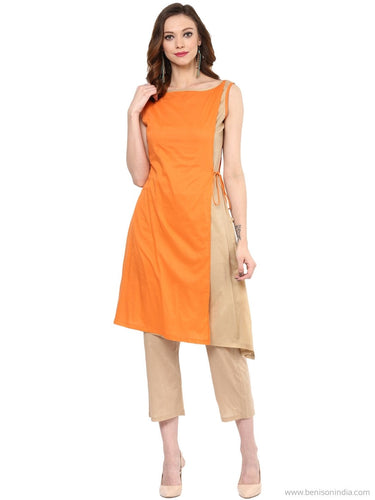 Benison India Asymmetrical Orange and Beige Designer Kurti with Crop pants-Benison India-Benison India