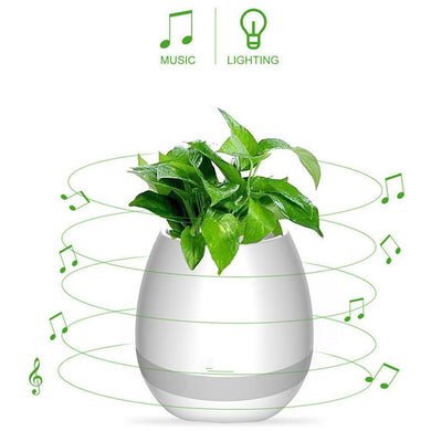 Benison India Bluetooth LED Smart Music Flowerpot Speaker-Electronics-Benison India-White-Benison India