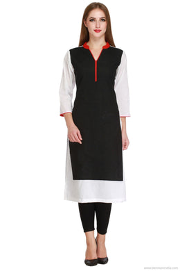Benison India Classy Solid Black and White Kurti-Benison India-Benison India