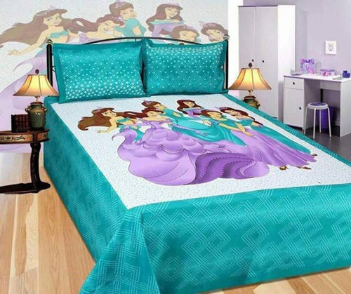 Benison India Cotton Cartoon Double Bedsheet (1 Bedsheet, 2 Pillow Covers, Multicolor)-Home & Kitchen-Benison India-Benison India