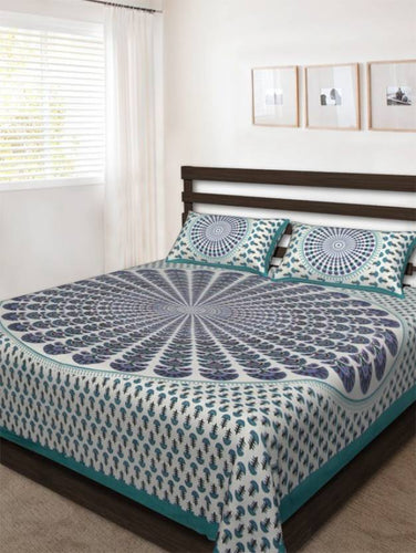 Benison India Cotton Printed Double Bedsheet (1 Bed Sheet, 2 Pillow Cover, C-green)-Home & Kitchen-Bension India-Benison India