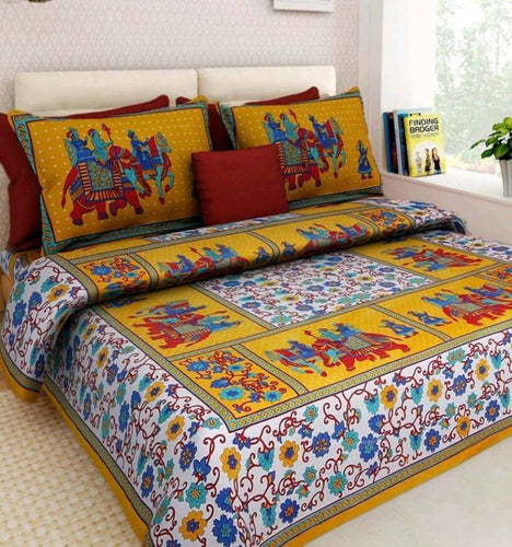 Benison India Cotton Printed Double Bedsheet (1 double bedsheet with 2 pillow cover, Multicolor)-Home & Kitchen-Benison India-Benison India
