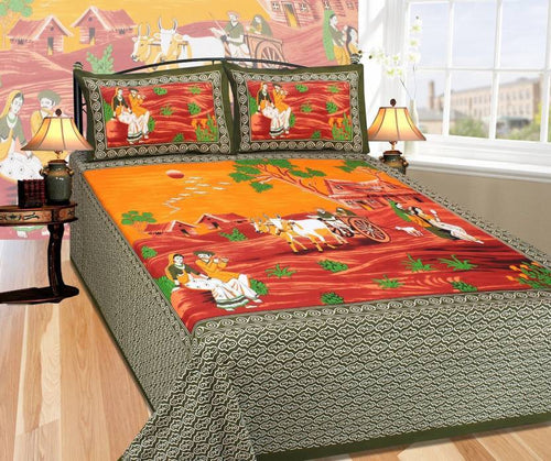 Benison India Cotton Printed Double Bedsheet (1 King size double bedsheet, 2Pillow covers, Green)-Home & Kitchen-Bension India-Benison India