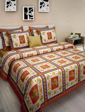 Benison India Cotton Printed Double Bedsheet (One Bed Sheet Two Pillow Cover, Orange)-Home & Kitchen-Benison India-Benison India