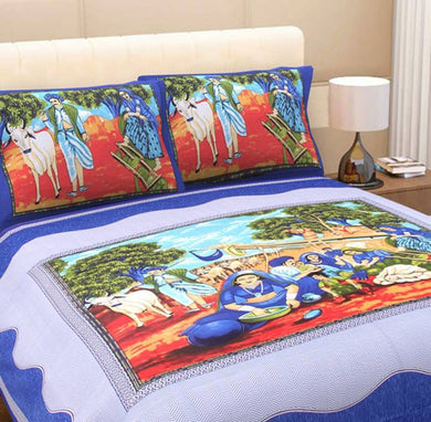 Benison India Cotton Printed King sized Double Bedsheet (Double Bedsheet with 2 pillow Cover, Multicolor)-Home & Kitchen-Benison India-Benison India