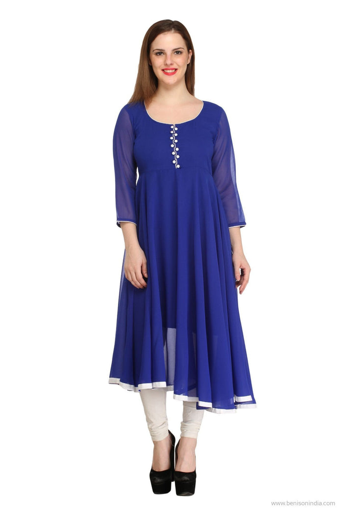 Benison India Designer Solid Royal Blue Anarkali Kurti-Benison India-Benison India