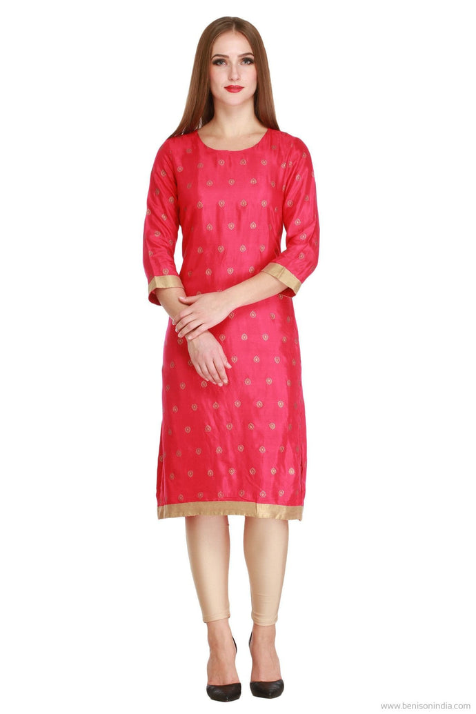 Benison India Golden and Red Block Print Kurti-Benison India-Benison India