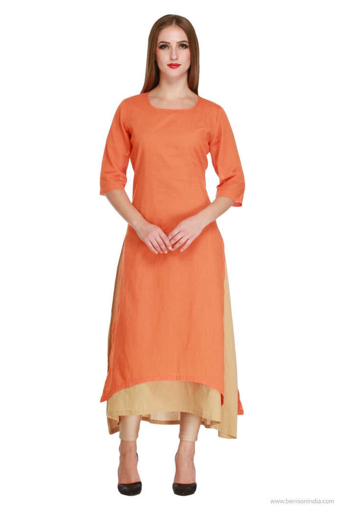 Benison India Latest Double Layered Orange and Beige Kurti-Benison India-Benison India